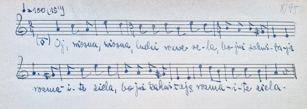 Rękopis z nutami pieśni