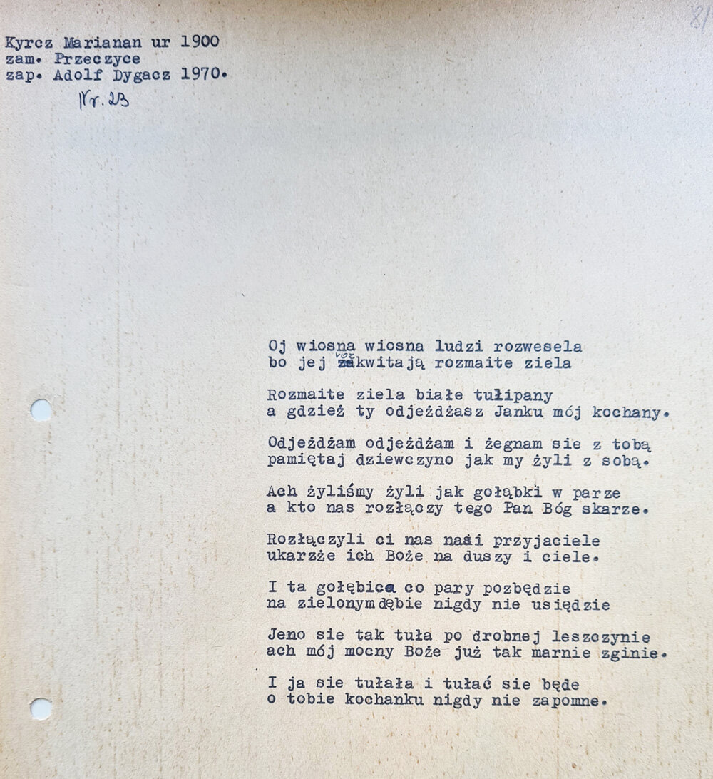 Maszynopis z tekstem pieśni